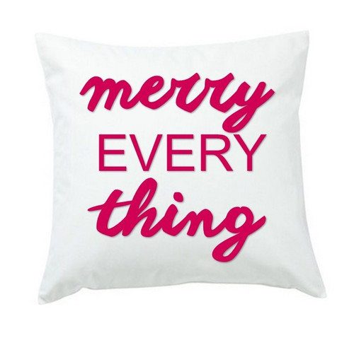merry everything throw pillow or cover only hot pink