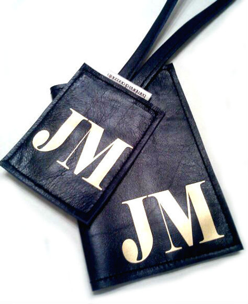 Mia Men's Personalized Monogrammed Leather Passport Cover & Luggage Tag Set