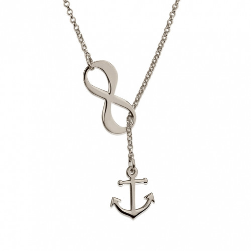 Infinity Anchor Lariat Necklace - Sterling Silver