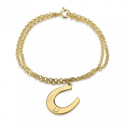 24k Gold Plated Personalized Initial Horseshoe Bracelet
