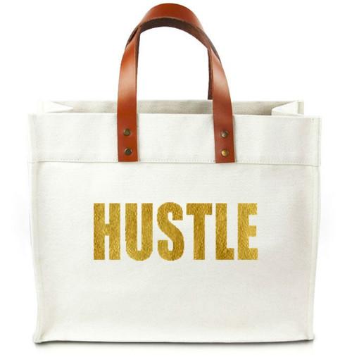 Hustle Canvas Tote Bag w/ Leather Straps