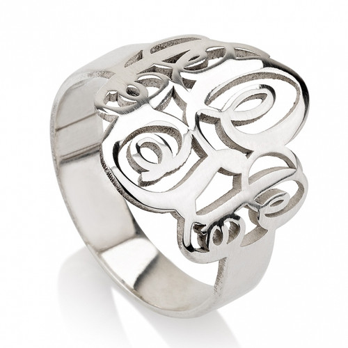 Interlocking Script Three Initials Monogram Ring - Sterling Silver