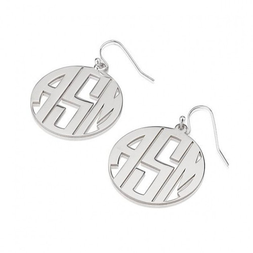 what letter of the alphabet is s solid sterling silver script monogram earrings with border 25574