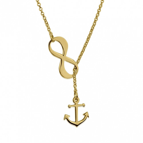 Infinity Anchor Lariat Necklace - Gold Plated