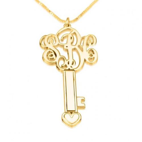 24K Gold Plated Key Personalized Monogram Key Necklace