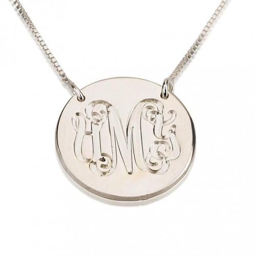 Monogram Medallion Pendant Necklace - Sterling Silver