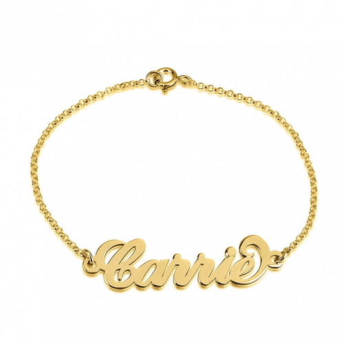 Carrie Personalized Name Bracelet - 24K Gold