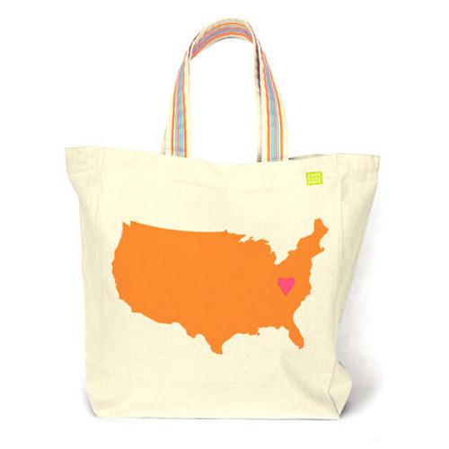 Personalized USA Heart America Tote Bag