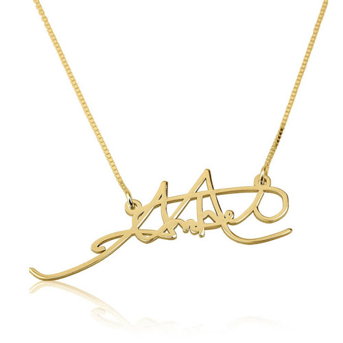 Personalized Handwritten Signature Necklace - 24K Gold Plated