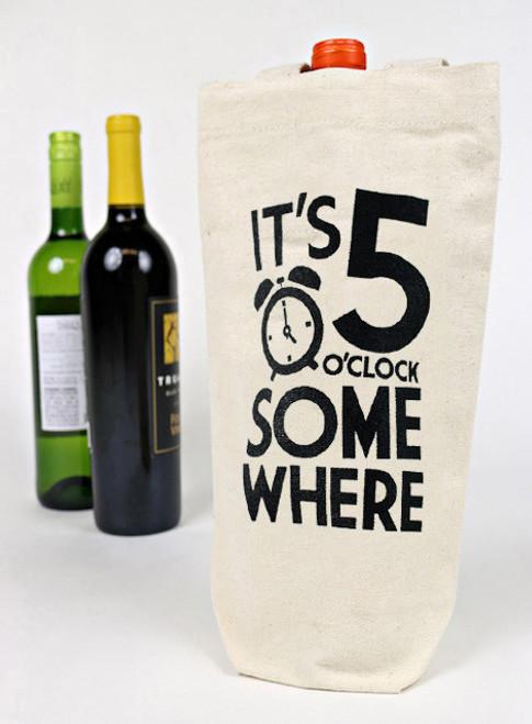It's 5 O'Clock Somewhere Canvas Wine Tote