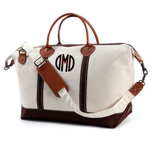 Haley Canvas & Leather Weekender - Brown