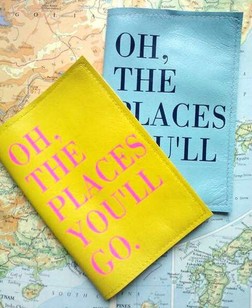 Leather Passport Holder -Dr Seuss Inspired, Oh The Places