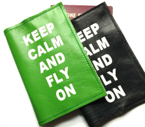 Keep Calm and Fly On Leather Passport Cover Wallet