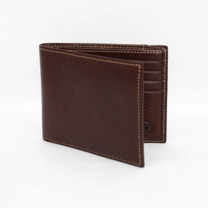 Torino Tumbled Glove Leather Billfold Wallet in Brown