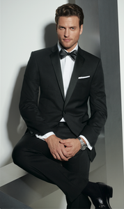 Jack Victor 1 Button Zale Slim Fit Tuxedo in Black
