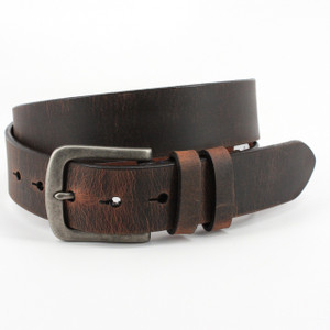 Torino Belts Distressed Waxed Harness Leather Belt in Antique Brown