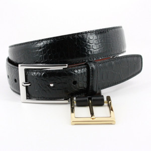 Torino Belts Alligator Grain Embossed Calfskin Belt in Black
