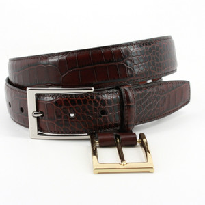 Torino Belts Alligator Grain Embossed Calfskin Belt in Brown
