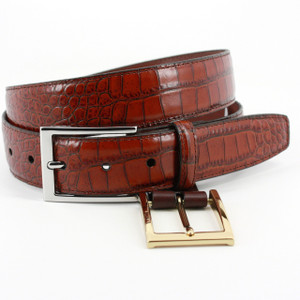 Torino Belts Alligator Grain Embossed Calfskin Belt in Cognac