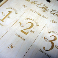 Wooden Wedding Triple Personalised Winebox - with open on your 1st, 2nd and 3rd anniversary graphics