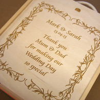 Wooden WeddingTriple Personalised Winebox - Thank you gift box