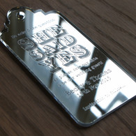 Mirrored Acrylic laser engraved Save the Date Luggage Tag Style 04