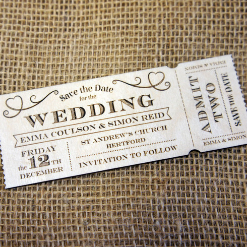 Wooden laser engraved Save the Date Magnets Ticket