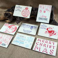 Wooden Printed Christmas Postcards - Set of 8