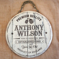 Wooden Distressed Barrel End with personalised engraving