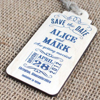 """Wooden Printed """"Save the Date"""" tags with magnet to the rear."""
