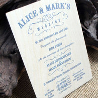 Printed Wooden Wedding Invitation - Vintage Swish