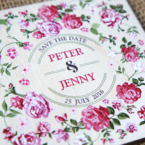 """Printed Wooden """"Save the Date"""" Coaster - English Rose"""