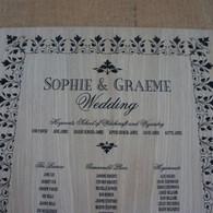 Engraved Wooden Wedding Table Plan - Leaf Border