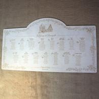 Engraved Wooden Wedding Table Plan - Flowered Border