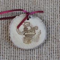 Rustic Wood Slice Christmas Decoration - Jolly Santa