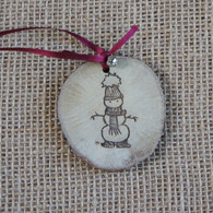 Rustic Wood Slice Christmas Decoration - Snowman