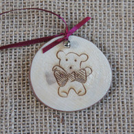 Rustic Wood Slice Christmas Decoration - Teddy Bear