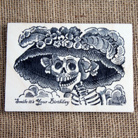 Printed Wooden Postcard - Birthday (Day of the Dead)