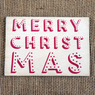 Wooden Printed Postcard - Merry Christmas