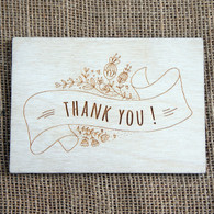 Wooden Engraved Postcard - Thank You