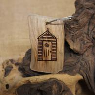 Engraved Driftwood Keyring - Beach Hut