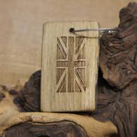 Engraved Driftwood Keyring - Union Jack