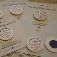 """Wooden """"Save the Date"""" Magnet with optional backing cards & envelopes"""