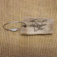 Engraved Driftwood Gift Keyrings - Tattoo Love