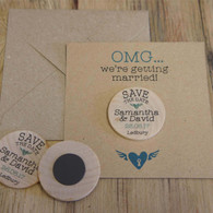 "Wooden ""Save the Date"" Magnet with optional backing cards & envelopes - OMG... were getting married!"