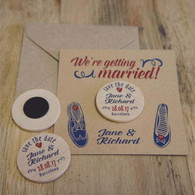 """Wooden """"Save the Date"""" Fridge Magnets (min order 30) - Wedding Shoes"""