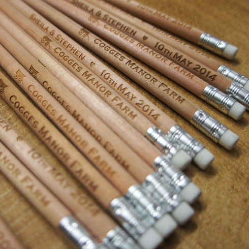 Wooden Save the Date Long Round Pencils