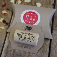 Pop a cork with us - Save the Date.  Personalised cork with backing card, pillow envelope and personalised sticker