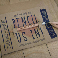 Wooden Save the Dates Short Round (Golf) Pencils with personalised message on the backing card