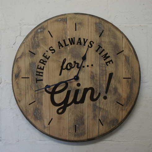 oak barrel clock - There's always time for gin.